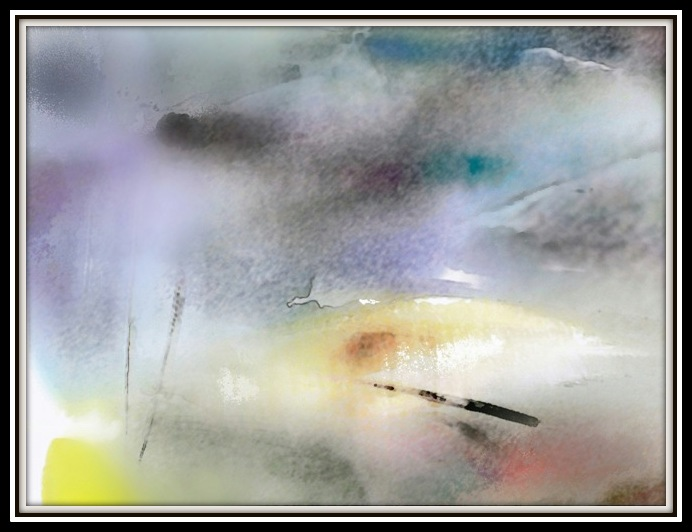 digital painting Curonian Gulf peacefully rests in the frame